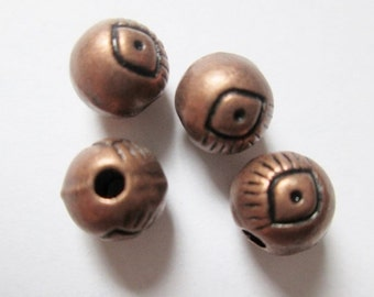 22 pcs Copper Beads with eye 6 mm, Lead, Nickel & Cadmium Free Jewelry Findings, metal findings