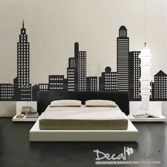 new york city new york skyline city skyline decal city city wall decals wall decal hello paris ambiance