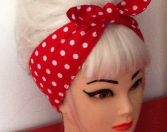 White Red Polka dots Rockabilly Head Scarf 50 s Pinup Vintage Retro Rosie the Riveter