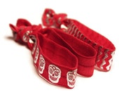 Red Hair Ties - FOE - No Crease, No Snag, Elastic - Ladies Hair Accessories - Sugar Skull, Chevron, Metallic