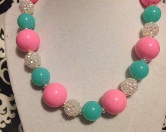 Pink and Teal Child's Statement Necklace