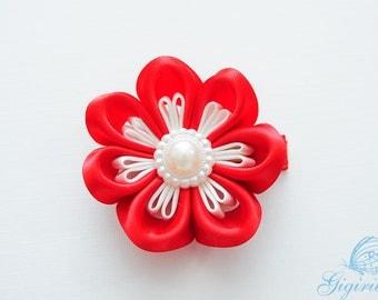 white and red ribbon flower hair clip - adult hair clip - hair accessories