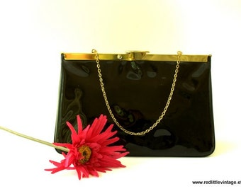 Vintage Purse, Black Patent Leather Purse with Gold Tone Chain, Gifts for Her, Vintage Accessories,
