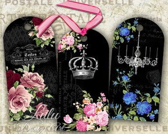 Black Elegance - Digital Collage Sheet - Floral Tags - Gift Tags - Digital Cards - Scrapbook - Digital Paper - ACEO - ATC - Gift Cards