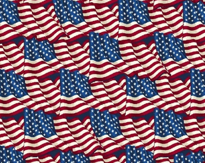 One Yard American Heroes - Flags - Cotton Quilt Fabric - by Whistler Studios for Windham Fabrics (W1303)