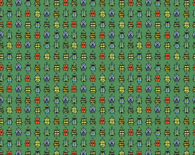 Half Yard Bugs - Ladybugs in Green - Cotton Quilt Fabric - by Jone Hallmark for Blend Fabrics (W1838)
