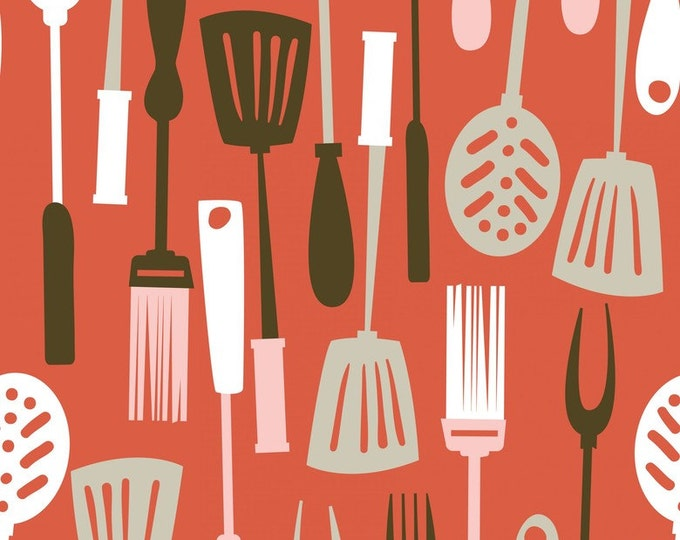 Half Yard Ribs & Bibs - Grill Master in Red - Cotton Quilt Fabric - designed by Maude Asbury for Blend Fabrics (W1865)