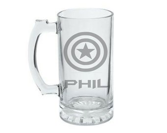 Captain America Mug - PERSONALIZED Captain America Mug - DEEP ETCHED Captain America - Geeky Glassed Mug