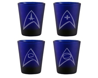 Star Trek Badges Blue Shot Glass Set - Star Trek Badge Shot Glasses - DEEP Etched Star Trek Badge Glass - Geeky Glassed