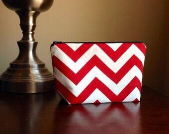 Makeup bag, cosmetic case, zipper pouch, clutch - Red Chevron