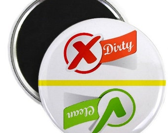 Check Mark Script Clean Dirty Dishwasher Magnet