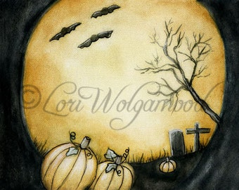 ACEO - Moonlit Pumpkins - Halloween Watercolor - Art Print