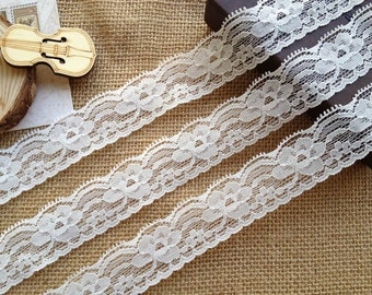 Stretch Lace Trim, White Flowers Lace, White Elastic Wedding Garter Lace, Baby Headbands Lace