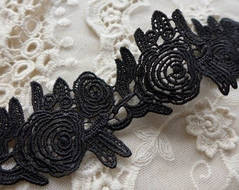Black Lace Trim Retro Venice Lace Fabric Trim Black Embroidery Lace Trim 2.16 inches wide 2 yards