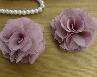 SALE 2 Pcs 3D Chiffon Fabric Flowers Applique in Pastel violet for Bridal, Weddings, Headbands, Costumes