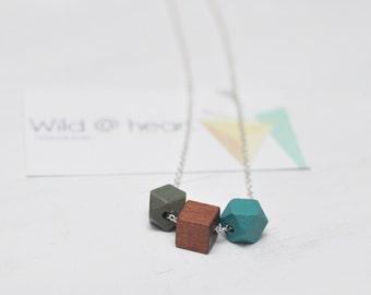 Wooden geometric necklace mini