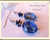 Blue GLASS Earrings-Sodalite-Sodalite chips-Dangle Earrings-Sterling Silver Beads