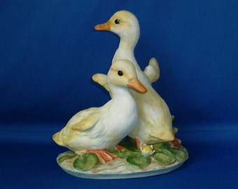 Yellow Ducklings Figurine Masterpiece Porcelain by Homco 1982