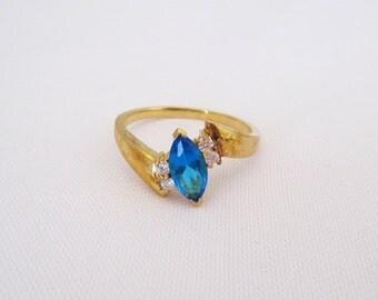 Vintage Sterling Silver Gold Vermeil Blue Topaz & CZ Ring Size 10