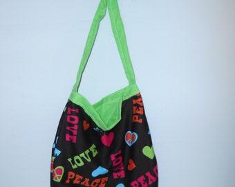 Small Reusable Shopping Bag - Peace Love Print