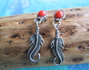 Sterling Coral and Feather Post Dangle Earrings