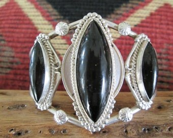 Black Onyx and Sterling Silver Cuff Bracelet