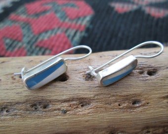 Turquoise, Mother of Pearl and Sterling Silver Earrings