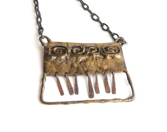 Modern Abstract Necklace Brass and Copper