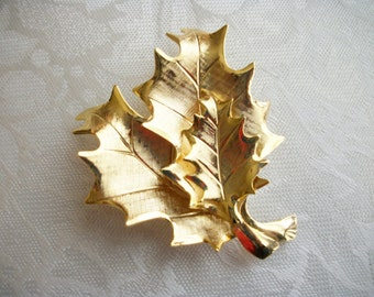Vintage Three Maple Leaf Goldtone Brooch Designer Collectible Gift Mom Mothers Day Art Deco, Retro, Pin