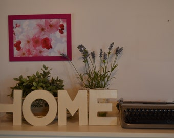 Written HOME hand painted wood