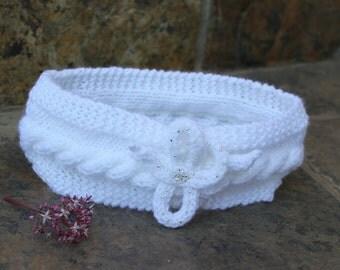 Bride ear warmer , White head-band , Winter bride , Knit ear warmer , Knit head-band , Hair accessory , Brides maid gift , Turban headband