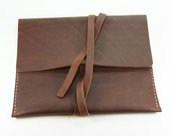 Brown  Leather Chestnut iPad  - Tablet Sleeve.