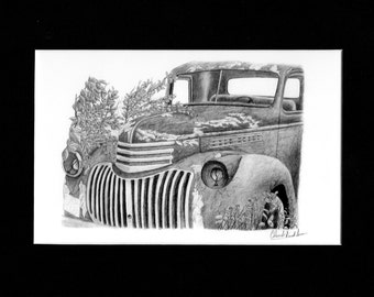 Pencil drawing of an old truck rusting among the leaves