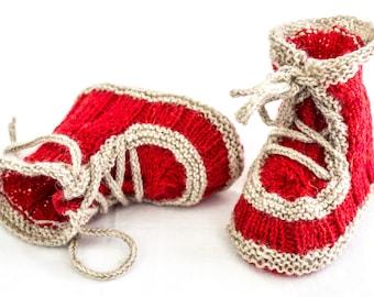 KNITTING PATTERN, Baby Booties Pattern, Lace Up Booties, Baby Knitting Pattern, Cute Booties Pattern, Three Sizes, PDF,