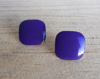 Purple Square Earrings, Vintage, 1980's , Classic, Posts, Retro, Chic, Eighties