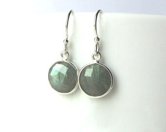 Labradorite Sterling Earring, Dangle, Faceted Round Labadorite, Sterling Wires