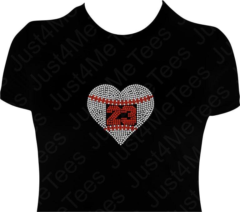 Custom Baseball Jersey Number Heart Bling T Shirt By