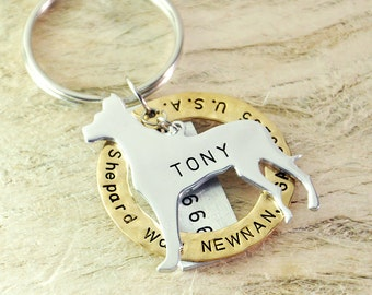 great dane dog tag personalized  dog tag 3 piece Pet tag Pet Id Tag Hand stamped  custom Made with your Pets Name/phone number