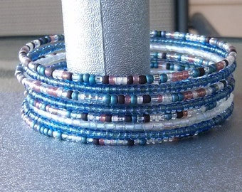 Brown, Blue, and White Memory Wire Cuff Bracelet