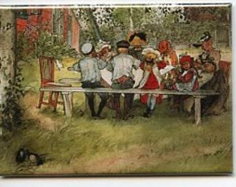 Swedish artist,  Carl Larsson Magnet #REM153 Breakfast under the Big Birch