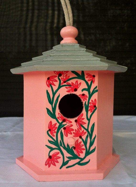 The Pink and Gray Floral Vines Birdhouse