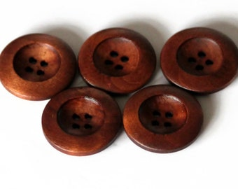 5 Large Red Brown Wooden Buttons 25mm Natural Round 4 holes large rimmed Buttons - NW36