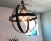 Large Steel Band Sphere Chandelier Pendant in Aged Zinc or Black Finish