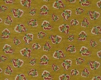 RJR Fabrics Audrey Wright Briarcliff 1667 01 Floral Bouquet on Gold by the Yard