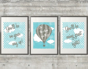 Printable Dr. Seuss Nursery Art Set of 3 8x10 digital files in gray and blue, Oh The Places You'll Go