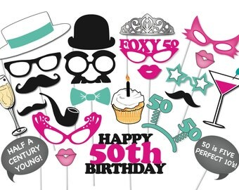 50th Birthday Photobooth Party Props Set - 26 Piece PRINTABLE - Fifty birthday party Photo Booth Props