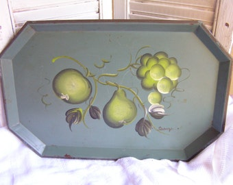 Vintage Hand Painted Tole Steel Serving Tray Cottage Chic Signed Fruit Apple Pear Grapes