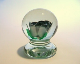 Robert L. Hamon Signed Cut Rose Pedestal Paperweight