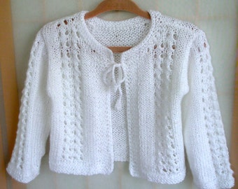 Christening sweater,Flower Girl,Hand Knitted Baby Girl White Cardigan,Lace Sweater,Wedding