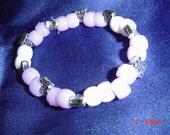 pony bead white  stretch  women girls gift OOAK Handmade Jewelry